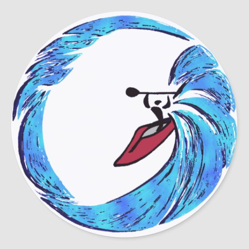kayak Oahu dreams Round Sticker