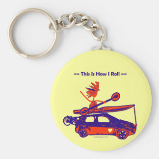Kayak On Car - This is how I roll! Basic Round Button Key Ring