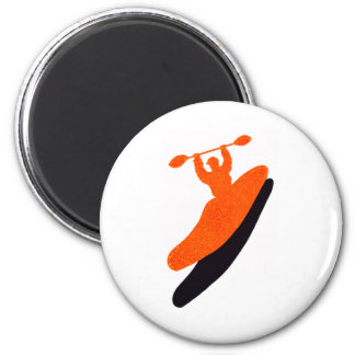 Kayak orange blaster 6 cm round magnet
