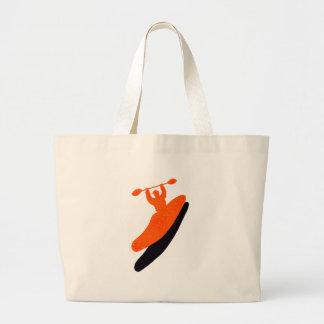 Kayak orange blaster tote bags