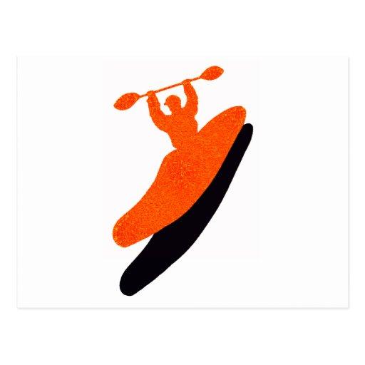 Kayak orange blaster post cards