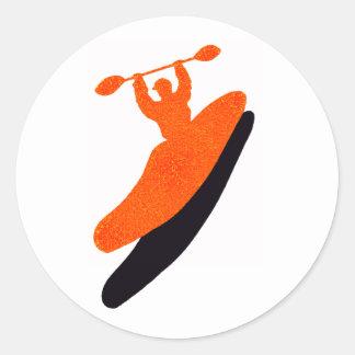 Kayak orange blaster round sticker
