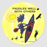 Kayak Paddles Well With Others II Round Sticker