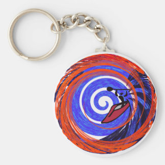 kayak red swirley basic round button key ring