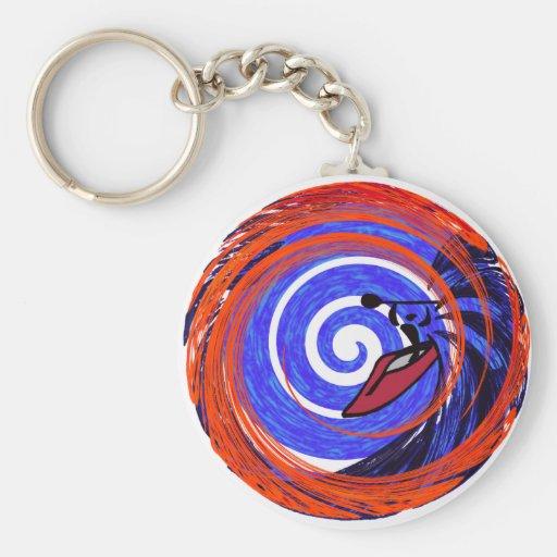 kayak red swirley key chains