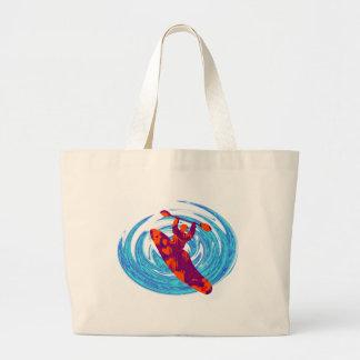 kayak savage waves jumbo tote bag