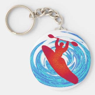 Kayak Spring Streaks Basic Round Button Key Ring