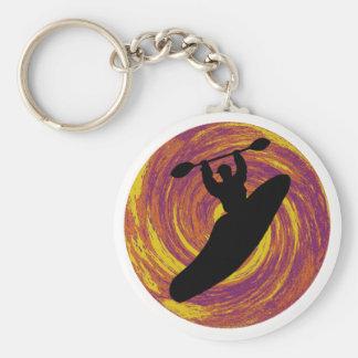 Kayak Swirl Eddy Basic Round Button Key Ring