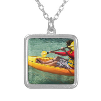 Kayaker paddling in clear water personalised necklace