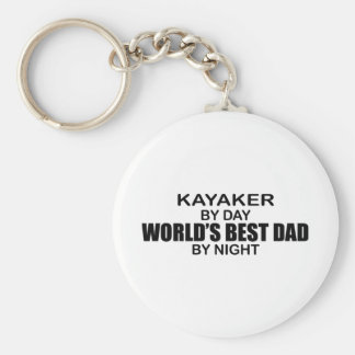 Kayaker World's Best Dad by Night Basic Round Button Key Ring