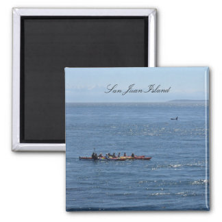 Kayakers and Orca Square Magnet