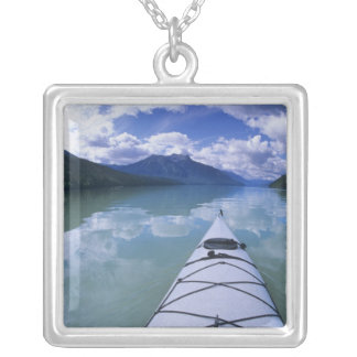 Kayaking at the end end of Azure Lake in Wells Silver Plated Necklace
