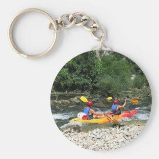 Kayaking Basic Round Button Key Ring