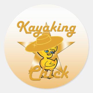 Kayaking Chick #10 Round Sticker