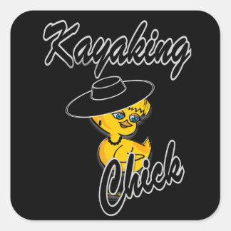 Kayaking Chick #4 Square Sticker