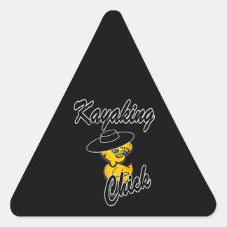 Kayaking Chick #4 Triangle Sticker