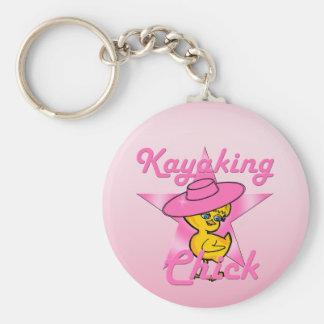 Kayaking Chick #8 Basic Round Button Key Ring