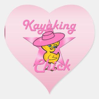Kayaking Chick #8 Heart Sticker
