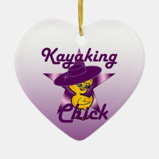 Kayaking Chick #9 Ceramic Heart Decoration