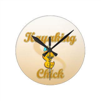 Kayaking Chick Round Wall Clocks