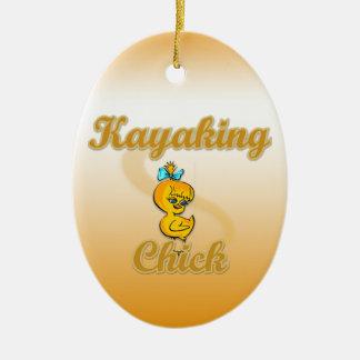 Kayaking Chick Christmas Tree Ornament