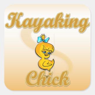 Kayaking Chick Square Sticker