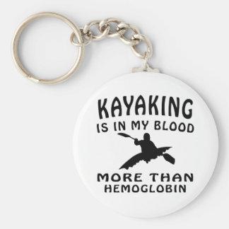 Kayaking Design Basic Round Button Key Ring