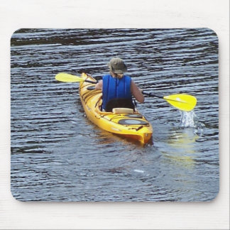 Kayaking down the river mouse mat