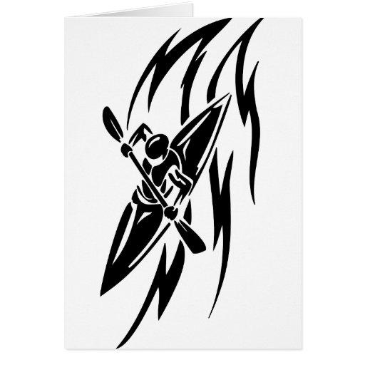 Kayaking Extreme Sport Graphic in Black & White Card