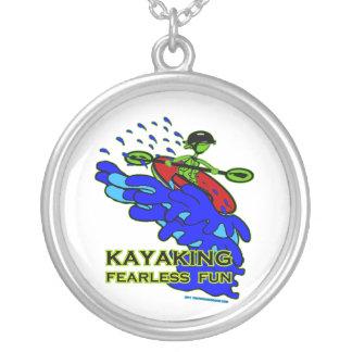 Kayaking Fearless Fun Gifts Round Pendant Necklace