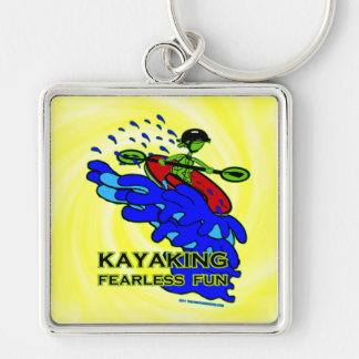 Kayaking Fearless Fun Gifts Silver-Colored Square Key Ring