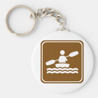 Kayaking Highway Sign Basic Round Button Key Ring
