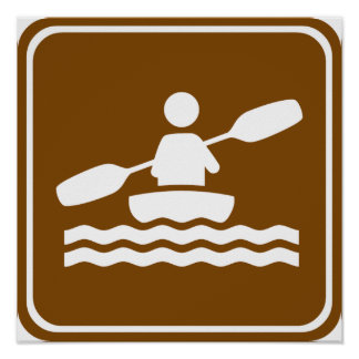 Kayaking Highway Sign Poster