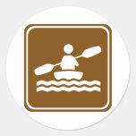 Kayaking Highway Sign Round Sticker
