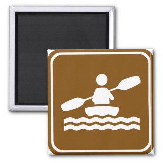 Kayaking Highway Sign Square Magnet