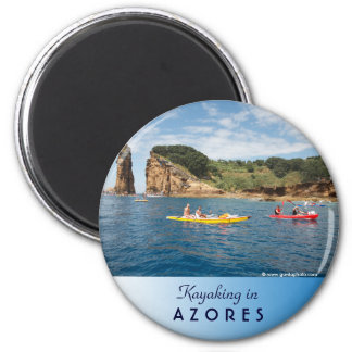 Kayaking in Azores 6 Cm Round Magnet