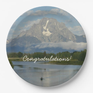 Kayaking in Grand Teton National Park 9 Inch Paper Plate