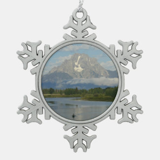 Kayaking in Grand Teton National Park Pewter Snowflake Decoration