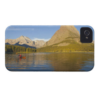 Kayaking in Swiftcurrent Lake at sunrise in the iPhone 4 Case-Mate Cases