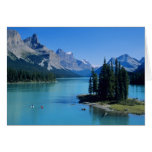 Kayaking on Maligne Lake at Spirit Island Greeting Card