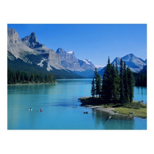 Kayaking on Maligne Lake at Spirit Island Postcard
