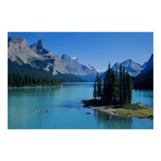 Kayaking on Maligne Lake at Spirit Island Poster