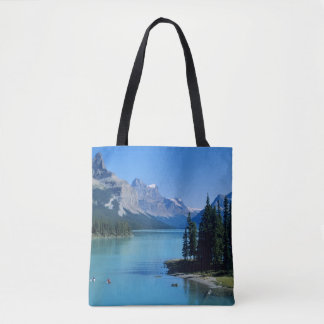 Kayaking on Maligne Lake at Spirit Island Tote Bag
