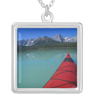 Kayaking on Waterfowl Lake below Howse Peak Silver Plated Necklace