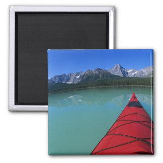 Kayaking on Waterfowl Lake below Howse Peak Square Magnet