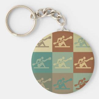 Kayaking Pop Art Basic Round Button Key Ring