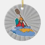kayaking rafting graphic christmas ornament