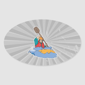 kayaking rafting graphic oval sticker