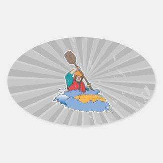 kayaking rafting graphic oval sticker