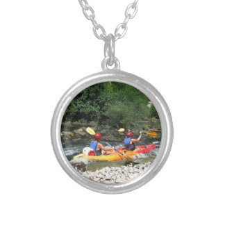 Kayaking Round Pendant Necklace